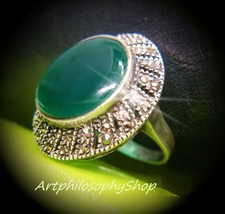 1920s Art Deco Sterling Silver 925 Huge Deep Green Chrysoprase  Marcasit... - $259.00