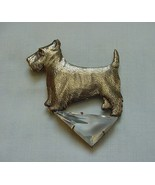 VINTAGE BRASS & GLASS MODERNIST SCOTTIE DOG PIN SADIE GREEN - $45.00