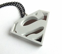 Superman necklace Laser cut white and mirror plastic - $17.74