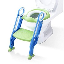 IntelligentBaby Potty Training Seat with Steps - Blue and Green Toddler Toilet S