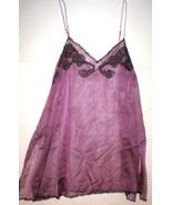 New NWT $395 Designer Josie Natori Silk Lace Womens L Purple Chemise Gow... - $256.75