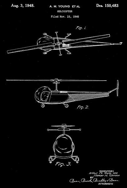 Primary image for 1948 - Helicopter - A. M. Young - Patent Art Poster