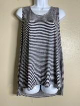 W5 Womens Size L Blue Striped Sleeveless Top/Tunic Zippered Back  - $13.53