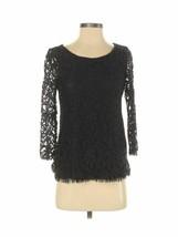 Club Monaco Women's Lace Overlay Longsleeve Black Shirt Dressy Blouse Si... - $31.49
