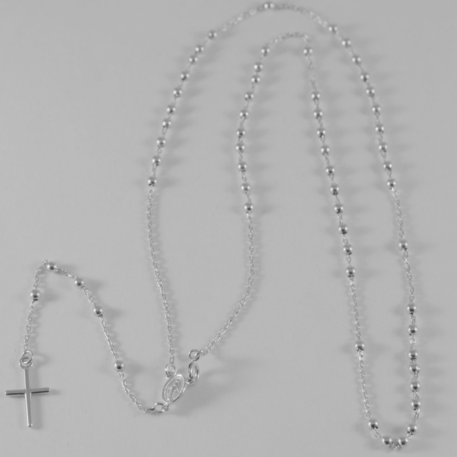 18K WHITE GOLD ROSARY NECKLACE MIRACULOUS MEDAL CROSS PENDANT JESUS ITALY MADE