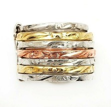 Three Tone  Handmade Hammered 925 Sterling Silver Band Ring Jewelry Sz 6... - $30.68