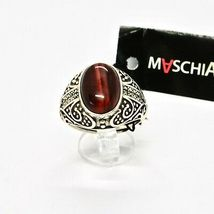 925 Silver Ring with Tiger's Eye & Marcasite Made in Italy by Maschia image 3