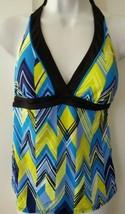 Nike Swim Tankini Halterkini Top Women Zig Zag Swimsuit Black Multi Size 6 - $24.99