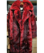 RARE MICHAEL KORS Faux Fur Long Coat Mid Calf Jacket RED CURRANT w/ Blac... - $395.99
