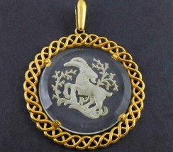 CROWN TRIFARI Aries Ram Carved Glass Gold-Tone PENDANT - 2 1/2 inches  - $35.00