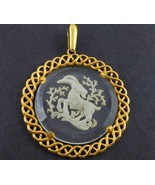 CROWN TRIFARI Aries Ram Carved Glass Gold-Tone PENDANT - 2 1/2 inches  - £28.10 GBP