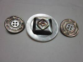 3 Pc Vintage Mother Of Pearl Buttons Snap Jewelry Noosa Ginger Snap Magnolia - $8.99