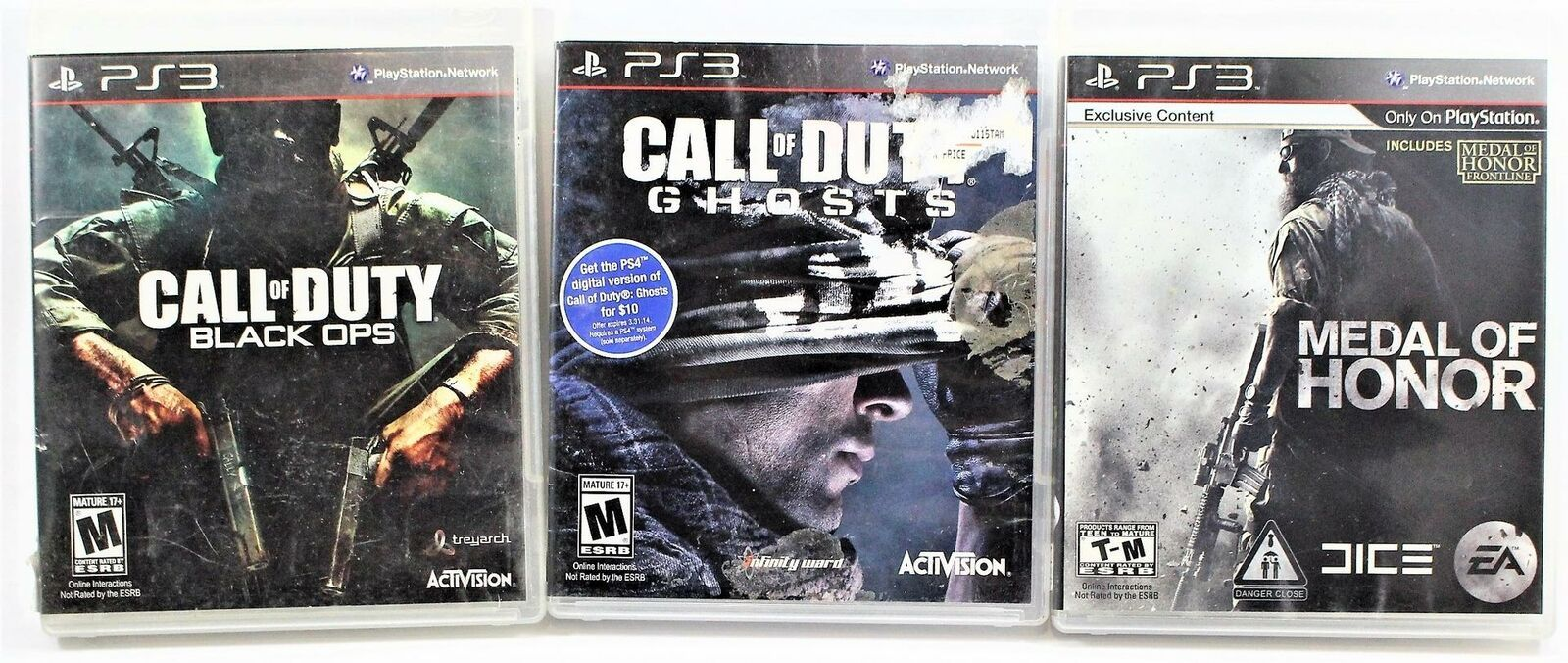 Lot Of 3 PlayStation 3 PS3 Games Call Of Duty Black Ops & Ghosts, Medal Of Honor - $18.80