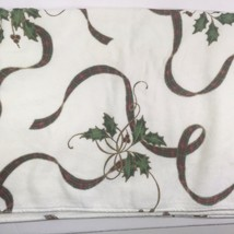 Lenox Christmas Holiday Holly & Tartan Ribbon Bath Towel All Over Design - $28.04