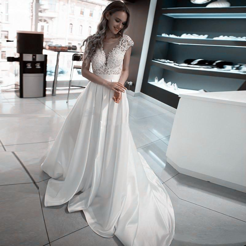 scoop short sleeves lace satin wedding dress open backless bridal gowns sexy long women wedding