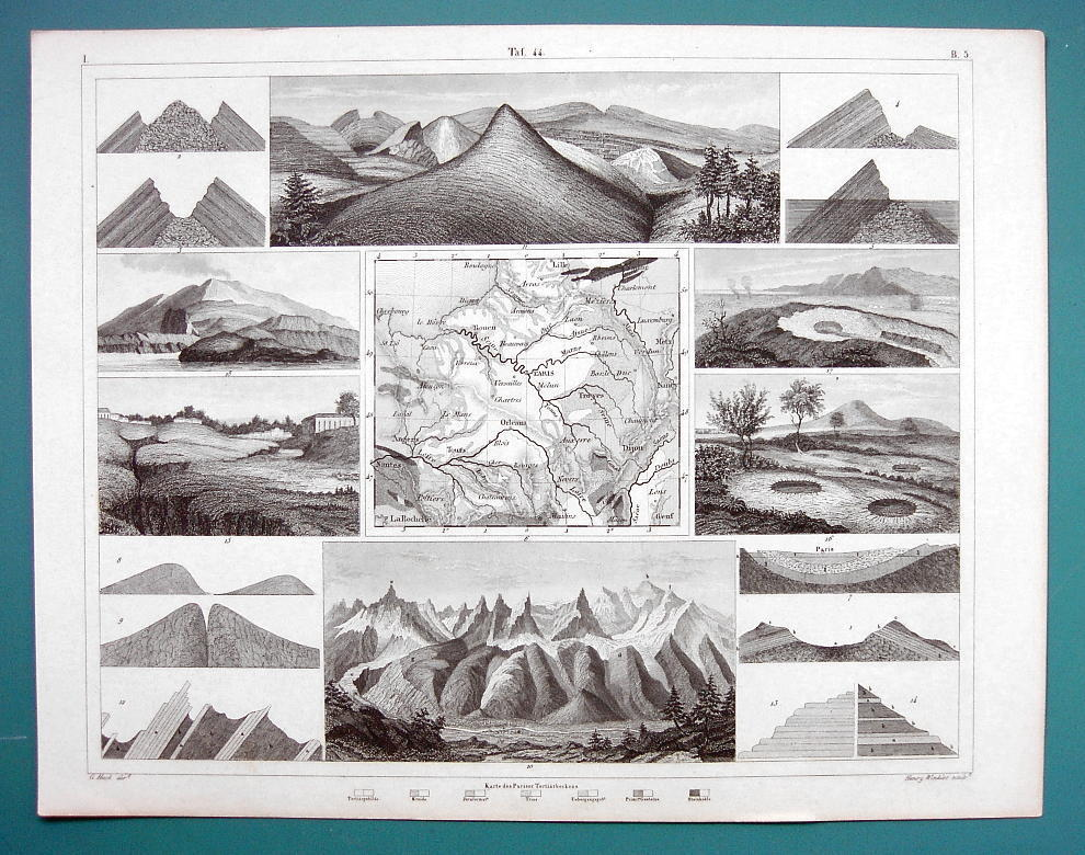 GEOLOGY Strata Dunes Cavities Fissures Mont Blanc - 1844 SUPERB Print Engraving