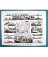 GEOLOGY Strata Dunes Cavities Fissures Mont Blanc - 1844 SUPERB Print En... - $8.55