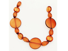 Acrylic Large Flat Round. Oval, and Medium Round Beads, 12 Inches