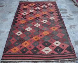 HR, 4'4 x 7'5 Vintage Afghan Nomadic Kilim Tribal Turkish wool Antique R... - $229.50