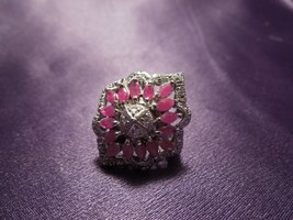 Sterling Silver Red Spinel Cocktail Ring with Crystals Art Nouveau Starb... - $64.35