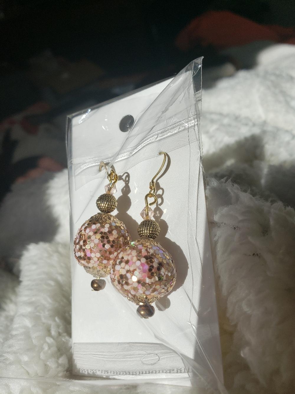 Pink and Gold Australian Crystal Drop Dangle Earrings