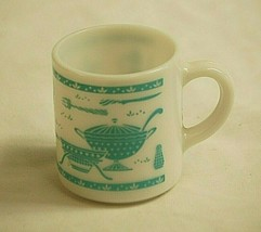Old Vintage Milk Glass Coffee Cup Mug w Turquoise Kitchen Utensil Patter... - $19.79