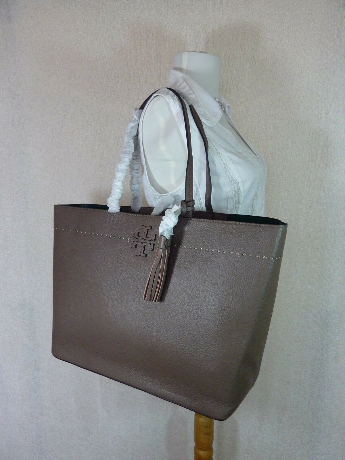 NWT Tory Burch Silver Maple/Malachite Leather McGraw Tote Bag $398 image 2