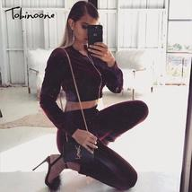 Tobinoone 2018 Winter Fashion Two pieces Velvet Women Jumpsuits Solid Long Sleev - $53.66