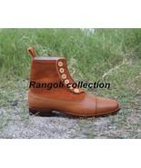 Handmade Men Button boots, Men Tan color  ankle boots, Mens boots, Leath... - $179.99