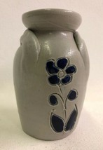 "Williamsburg Pottery Flower Vase Salt Glaze Cobalt Blue 2 Handles 4.75"" ... - $14.80"