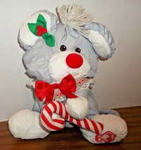 Fisher Price Gray Christmas Mouse Puffalump w/ Candy Cane #8016 Plush Do... - $15.00