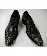 Fiesso Men's Black Floral Leather Metal Toe Lace Up Wing Tip Dress Shoes... - $129.99