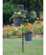 Metal Flower Garden Planter Stake Plants Herbs Outdoor Rustic Lawn Yard ... - $59.35