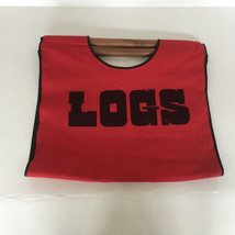 red canvas cloth firewood log carrier tote caddy with wood handles log g... - $28.01