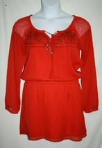 Jessica Simpson Misses MEDIUM Red Georgette Beaded Blouson Sheer Party Dress - $33.85