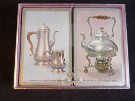 Set of 2 HALLMARK PLAYING CARDS SET with case STERLING SILVER COFFEE TEA... - $8.90