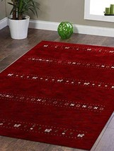 Rugsotic Carpets Hand Knotted Gabbeh Wool 6'x9' Area Rug Contemporary Re... - $190.69