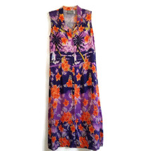 Carol Anderson 14P Dress Vintage Maxi Purple Orange Tropical Button Fron... - $20.00