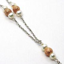Halskette Silber 925, Perlen, Herz Pink Anhänger, Arbeitete Matt Wellig image 4