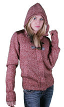 Bench Wolfster Red Knit Zip Up Sweater Hooded Jacket Hoodie image 4