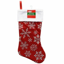 Christmas Polyester Red Stocking with Glittery Snowflakes, 17.5 in. w - $5.99