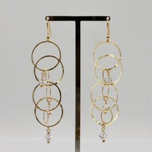 EARRINGS HANGING 925 SILVER LAMINA GOLD CIRCLES BY MARY JANE IELPO MADE IN ITALY image 2