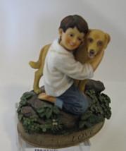 Vintage Demdaco 2002 Vintage Virtues Love Resin Boy & Dog Figurine, Kathy Killip - $19.99