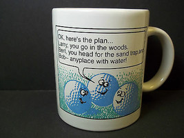 Shoebox coffee cup Talking golf balls Here's the Plan Funny 10 oz Hallmark - $7.33