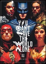 DC Comics Justice League Movie Group Can't Save World Alone Refrigerator Magnet - $3.99