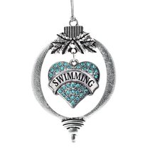 Inspired Silver Swimming Heart Holiday Christmas Tree Ornament With Crys... - $14.69