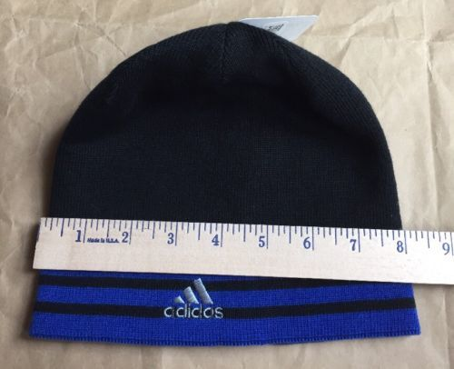 2c8727f6 ADIDAS Beanie HAT Young Men Youth Reversible Climawarm Eclipse Black Blue  NEW. Next. 1