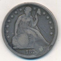 1871 SEATED LIBERTY SILVER DOLLAR-SCARCE COIN-PLUGGED-DAMAGED-SHIPS FREE! - $169.95