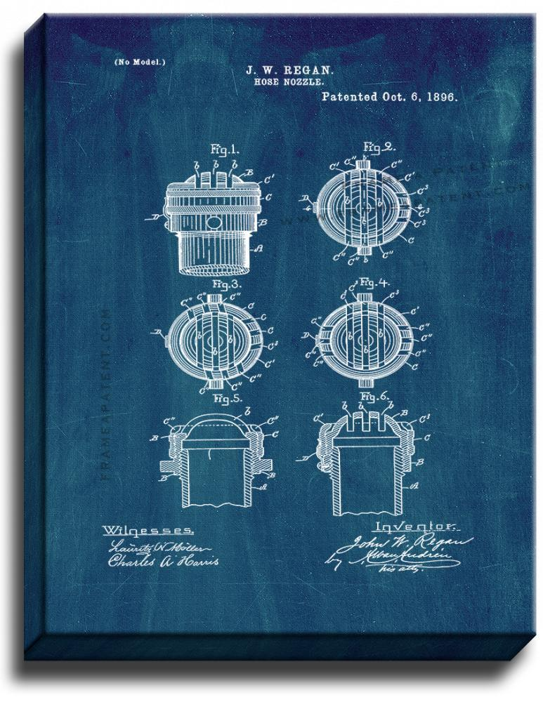 Primary image for Hose Nozzle Patent Print Midnight Blue on Canvas