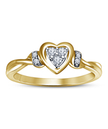 Heart Shape Engagement Ring 14k Yellow Gold Plated 925 Silver Round Cut ... - $53.99